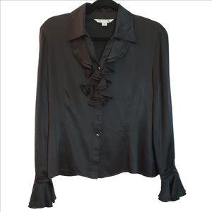 St. John Black Silk Ruffles & Gold Button Blouse